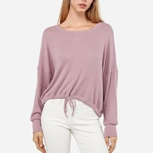 Brushed Tie Front Long Sleeve Ribbed Tee